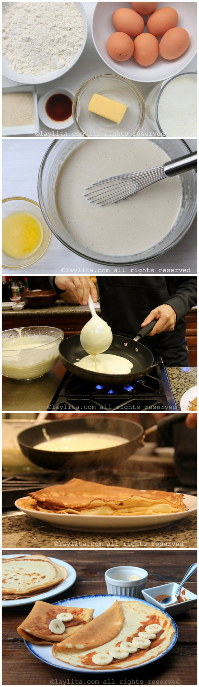 Basic recipe for making French sweet crepes