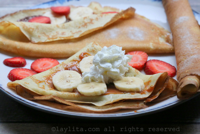 Sweet crepes, or French crepes, with dulce de leche and bananas
