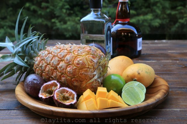 Ingredients for tropical margaritas