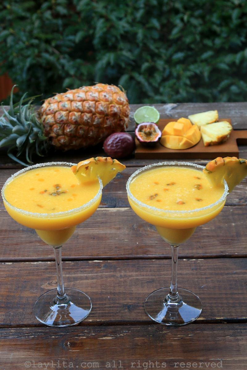 Pineapple mango passion fruit margaritas