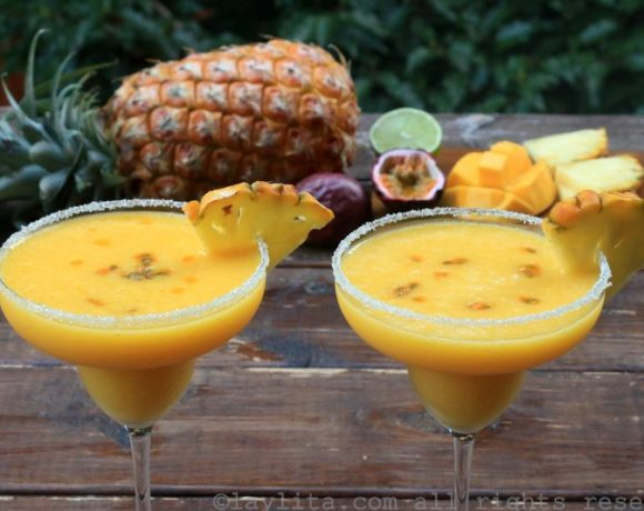 Tropical margaritas {with pineapple, passion fruit, and mango}