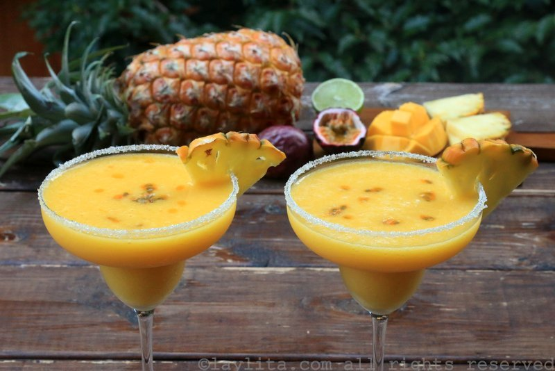 Tropical margaritas with pineapple, passion fruit, and mango