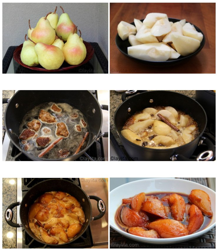 How to make pears caramelized in spiced panela or piloncillo syrup