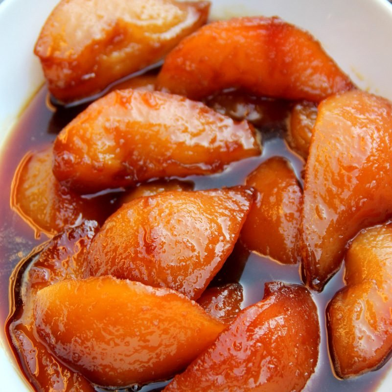 Pears caramelized in panela or piloncillo syrup