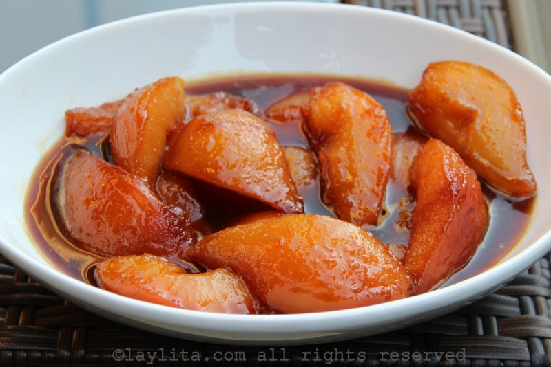 Pears cooked in spiced brown sugar or piloncillo