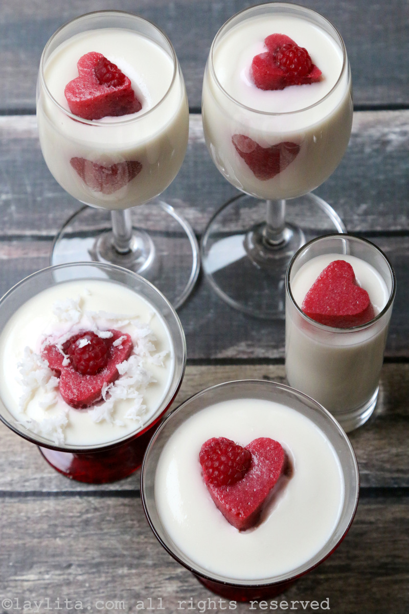 Coconut panna cotta with berry hearts