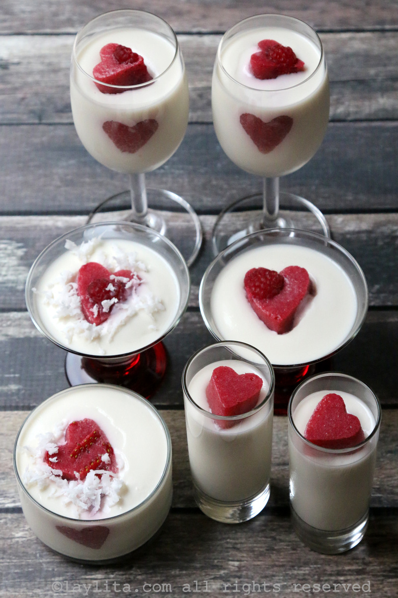 Panna cotta with berry hearts
