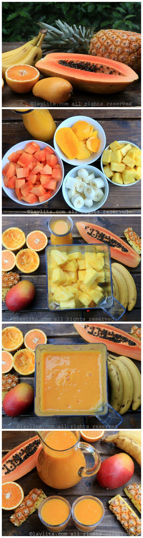 Tropical fruit smoothie preparation