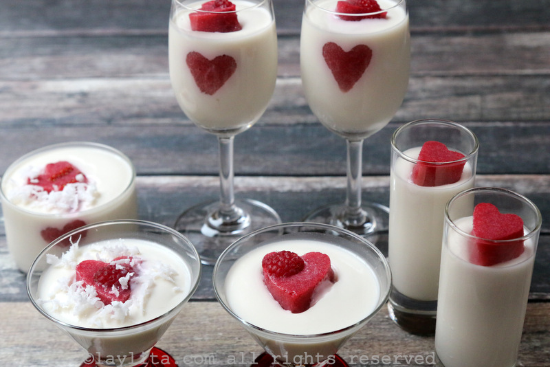 Valentine's dessert coconut panna cotta with berry hearts