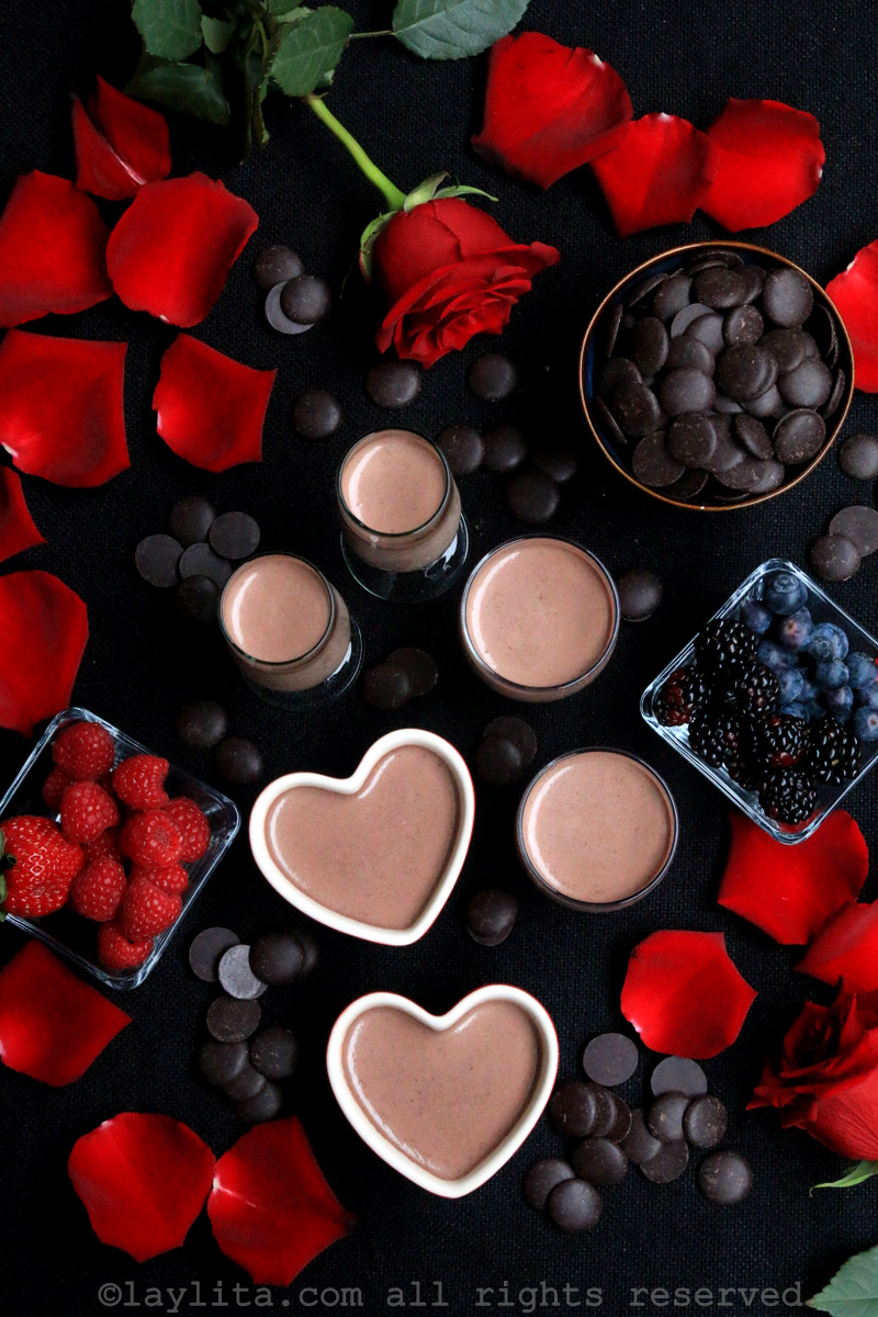 Dark chocolate panna cotta for Valentine's Day