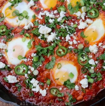 Latin inspired shakshuka with chorizo