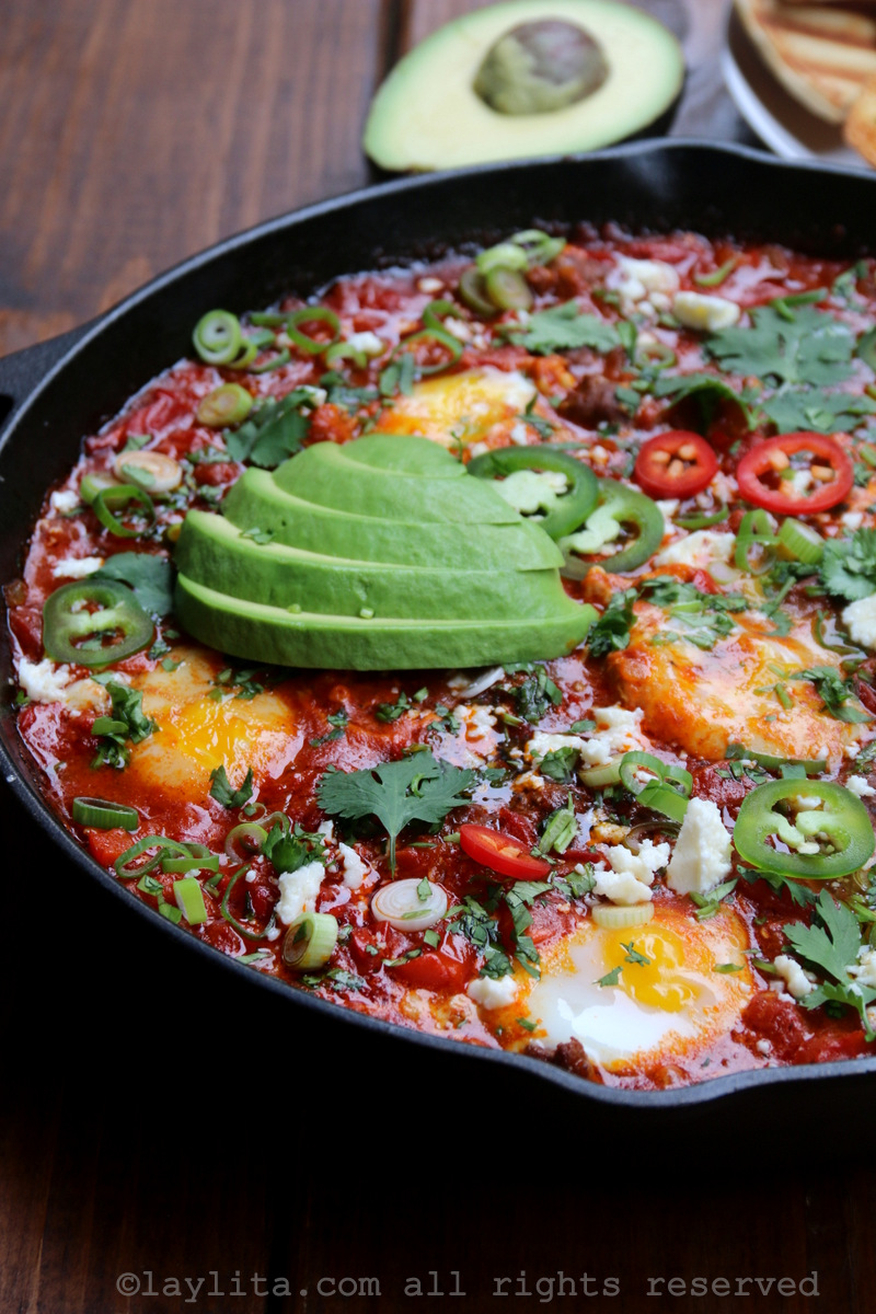 Spicy sausage shakshuka with avocado
