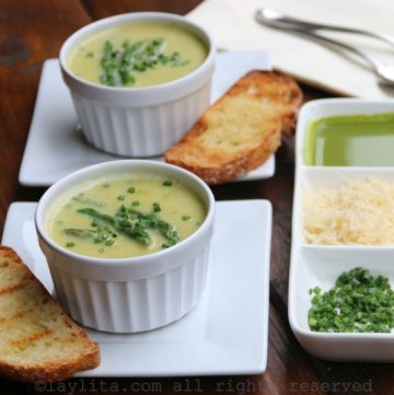 Homemade cream of asparagus soup