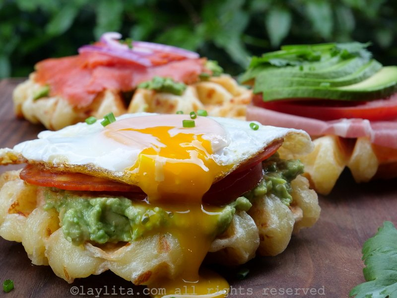 Cheesy cassava waffles with avocado and egg