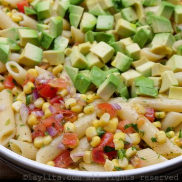 Corn pasta salad with tomato and avocado