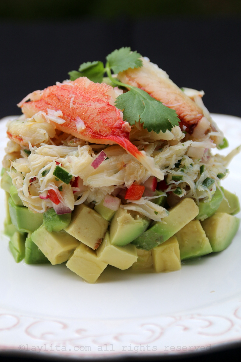Crab and avocado stack salad recipe