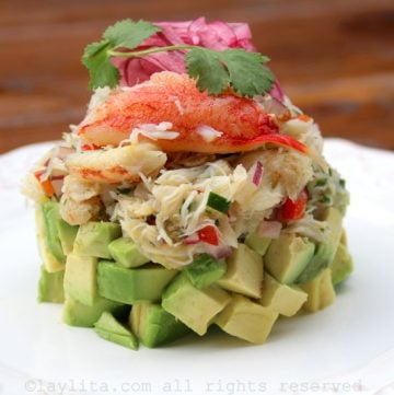 Recipe for crab and avocado stack salads