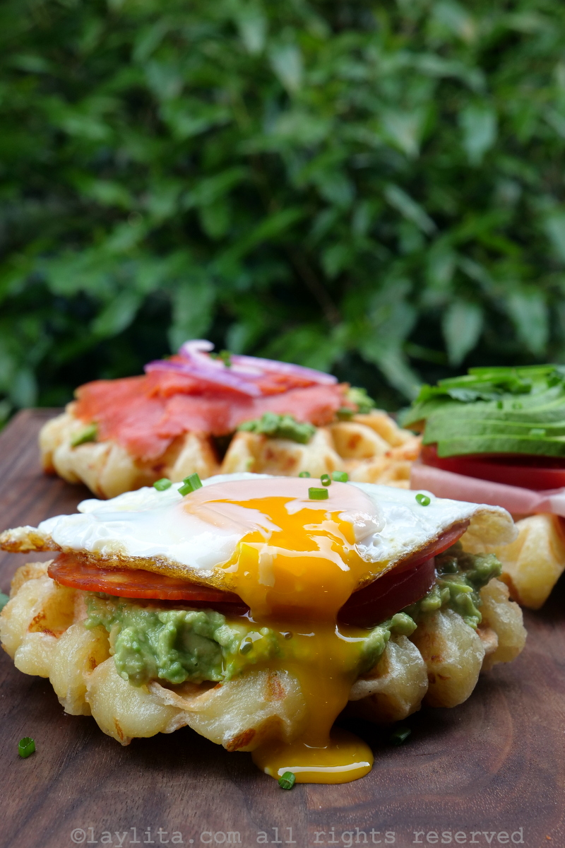 Savory cheese bread waffles