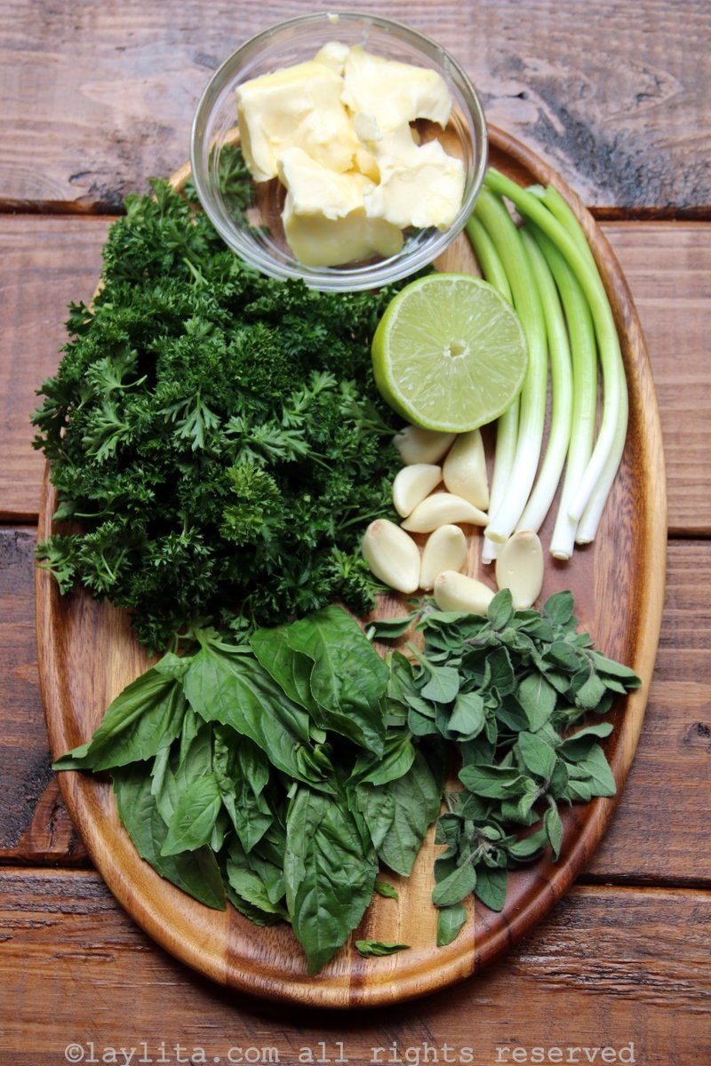 Ingredients for chimichurri butter
