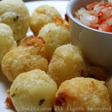 Fried mashed manioc or cassava balls filled with cheese