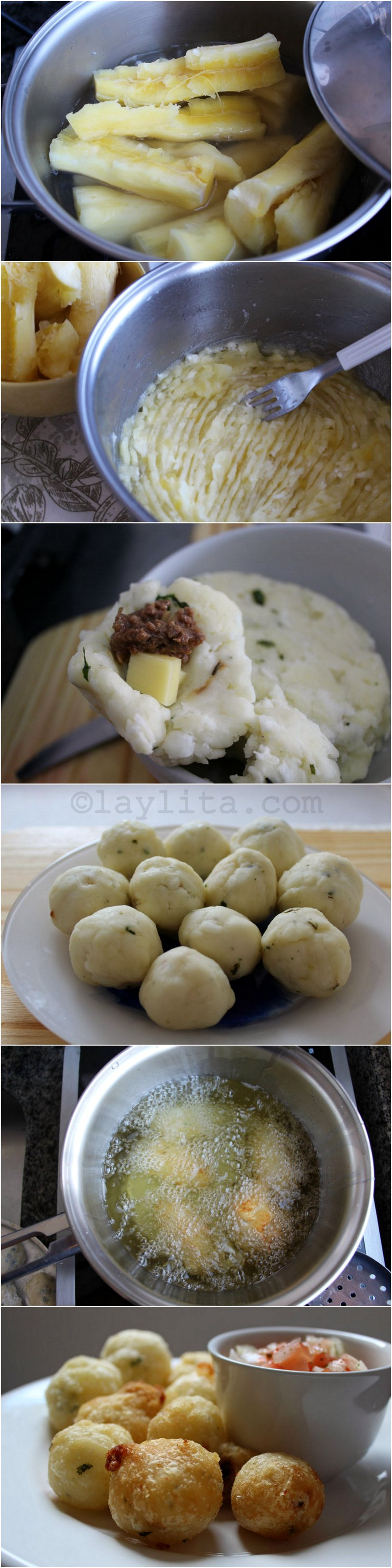 How to make Brazilian manioc or cassava balls stuffed with cheese - Bolinho de macaxeira
