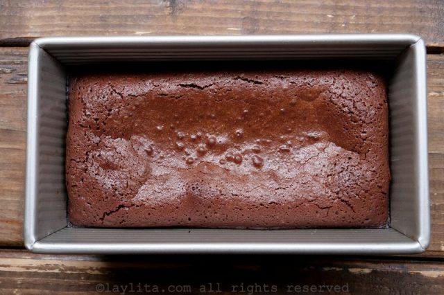 Molten chocolate cake baked in a rectangular mold