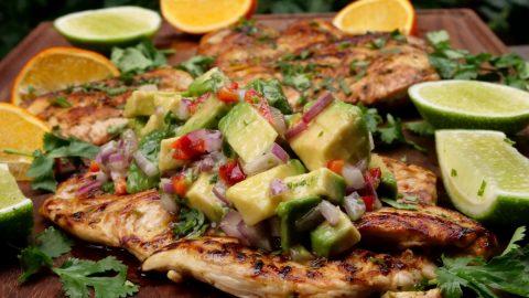 Chicken a la plancha with avocado salsa