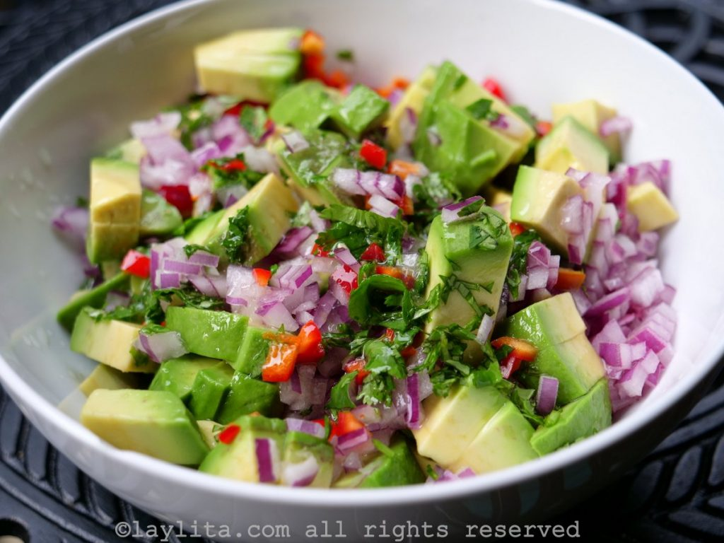 Diced avocado salsa preparation