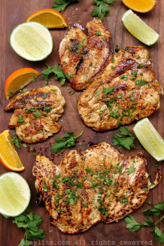 Grilled chicken or pollo a la plancha with citrus and cilantro