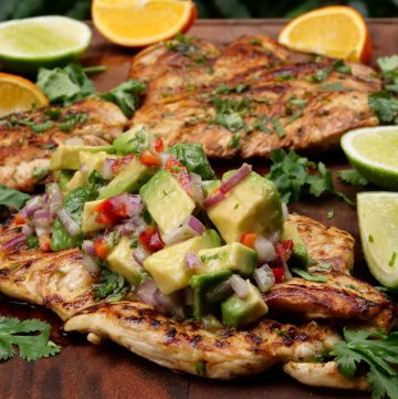 Grilled chicken a la plancha with avocado salsa