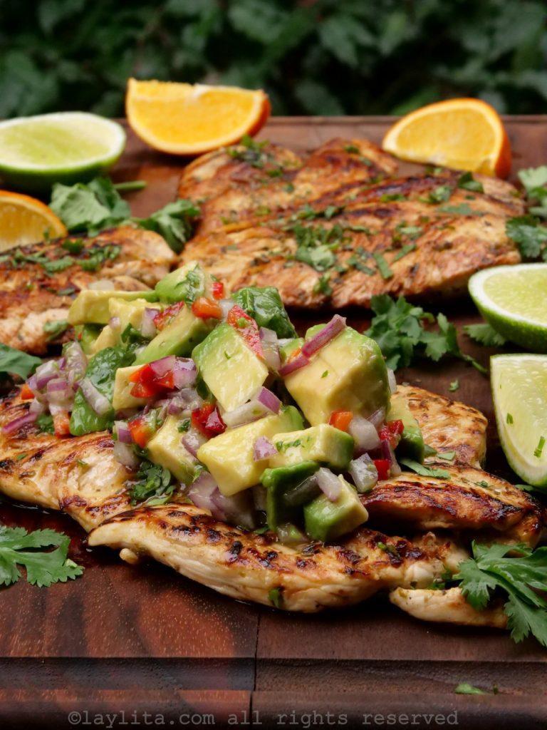 Grilled chicken a la plancha with avocado salsa