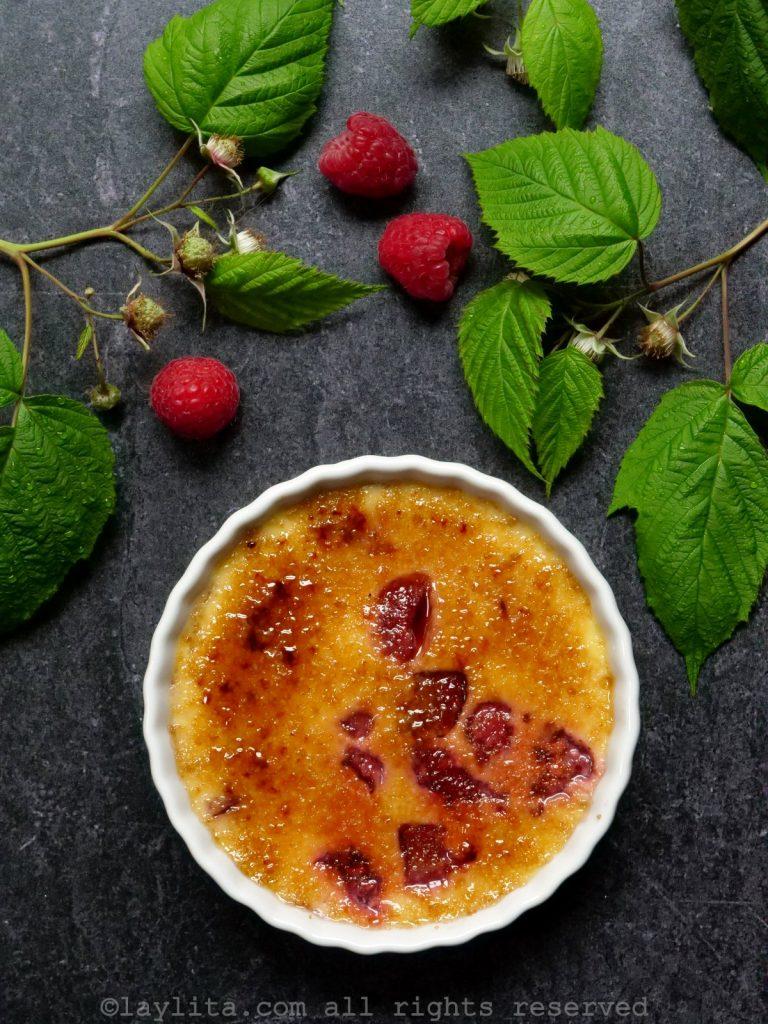 Raspberry creme brulee dessert