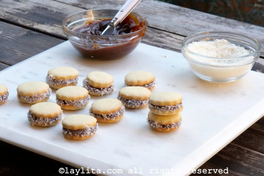 Alfajores or Latin American sandwich cookies with dulce de leche