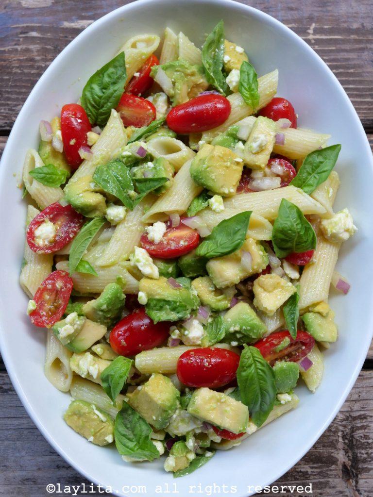 Avocado pasta salad with queso fresco or feta cheese