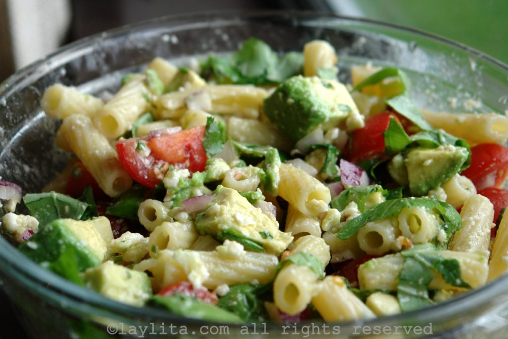 Pasta salad with avocado and queso fresco