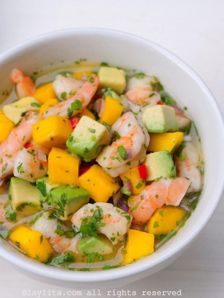 Mango shrimp avocado ceviche