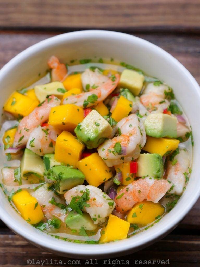 Shrimp and mango ceviche with avocado