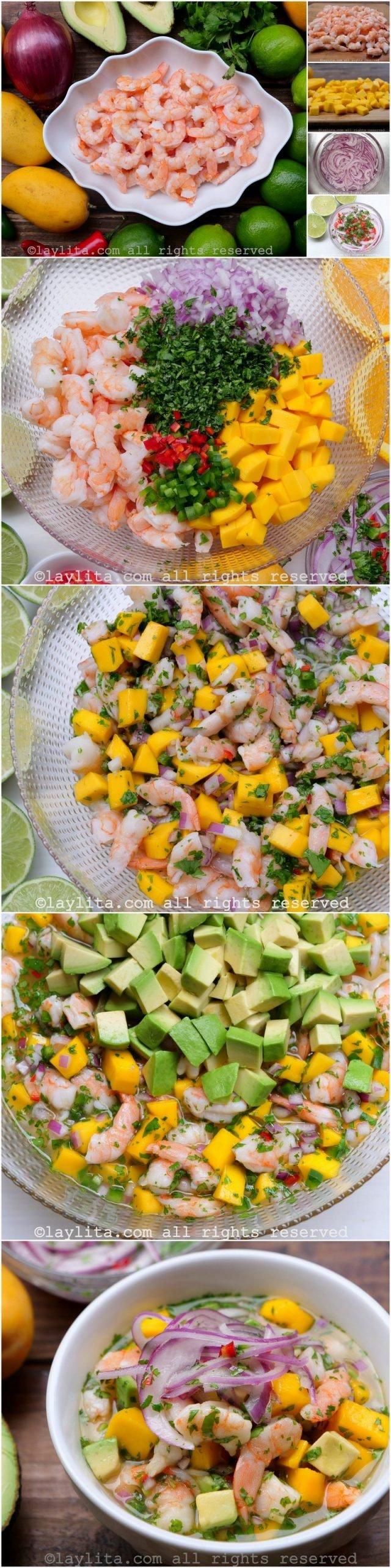 Step by step preparation for shrimp mango ceviche with avocado
