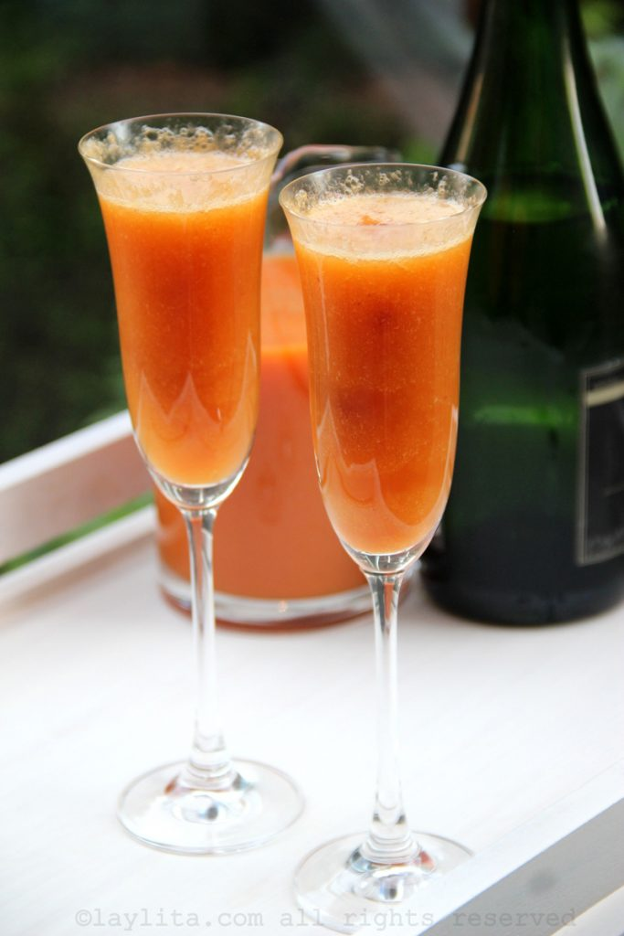 Peach bellini cocktails for Mother's Day