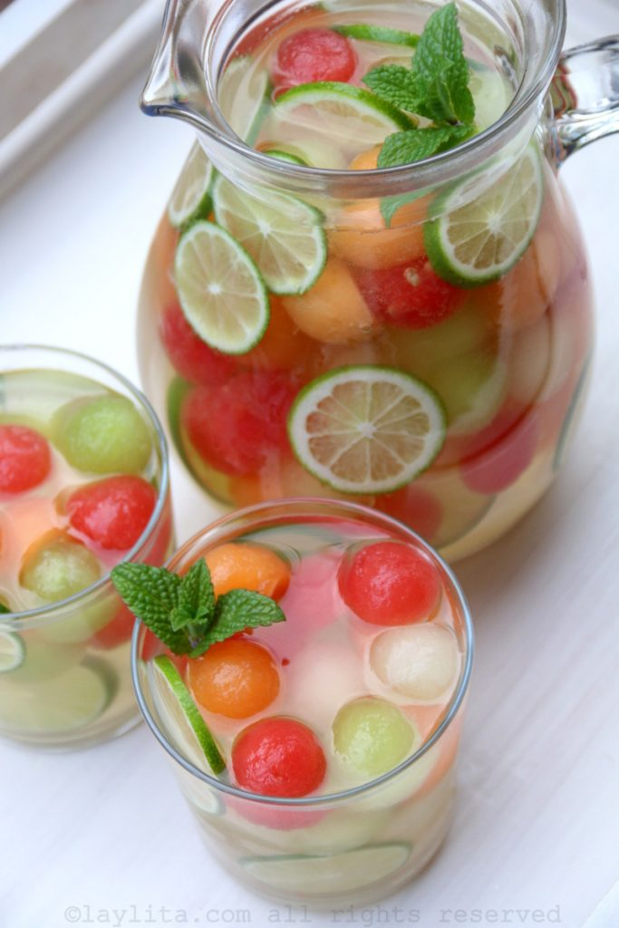 Refreshing melon sangria with moscato and melons balls for Mother's Day brunch