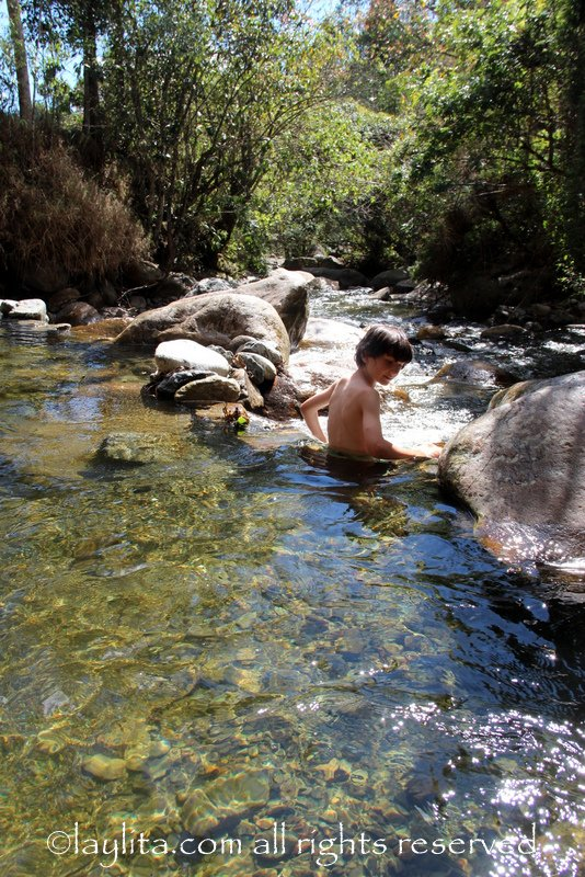 Swimming in the river in Vilcabamba