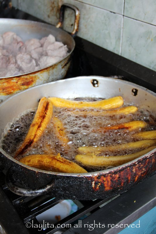 Frying ripe plantains in Ecuador