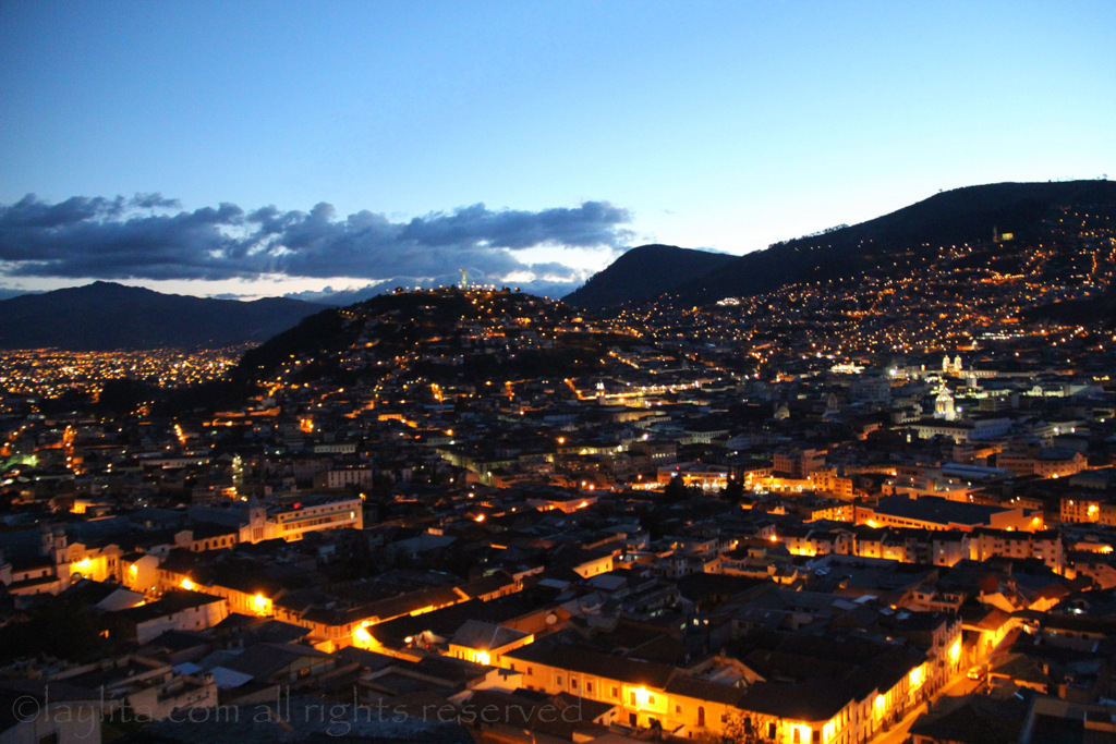 Night view of Quito Old Town from Cafe Mosaico in Itchimbía