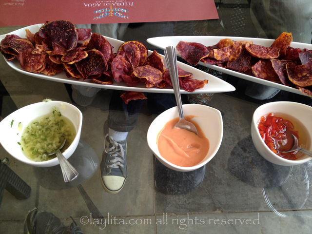 Sweet potato chips or chifles de camote with dipping sauces