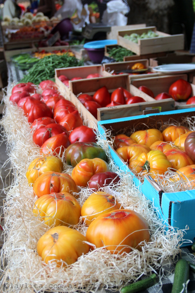 Perfect heirloom tomatoes at the market in Aix