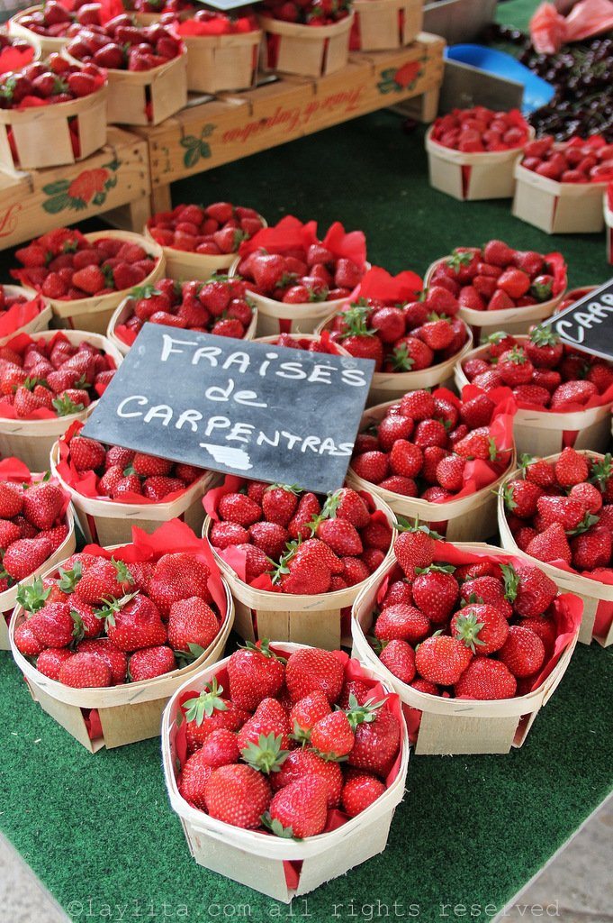 Ripe strawberries at the Aix en Provence farmers market
