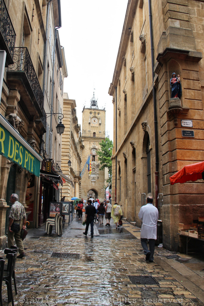 Streets of Old Town Aix-en-Provence at Place Richelme where the market is located