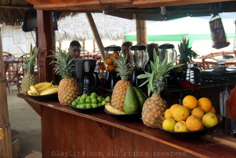 Ecuadorian juice and cocktail stand at the beach