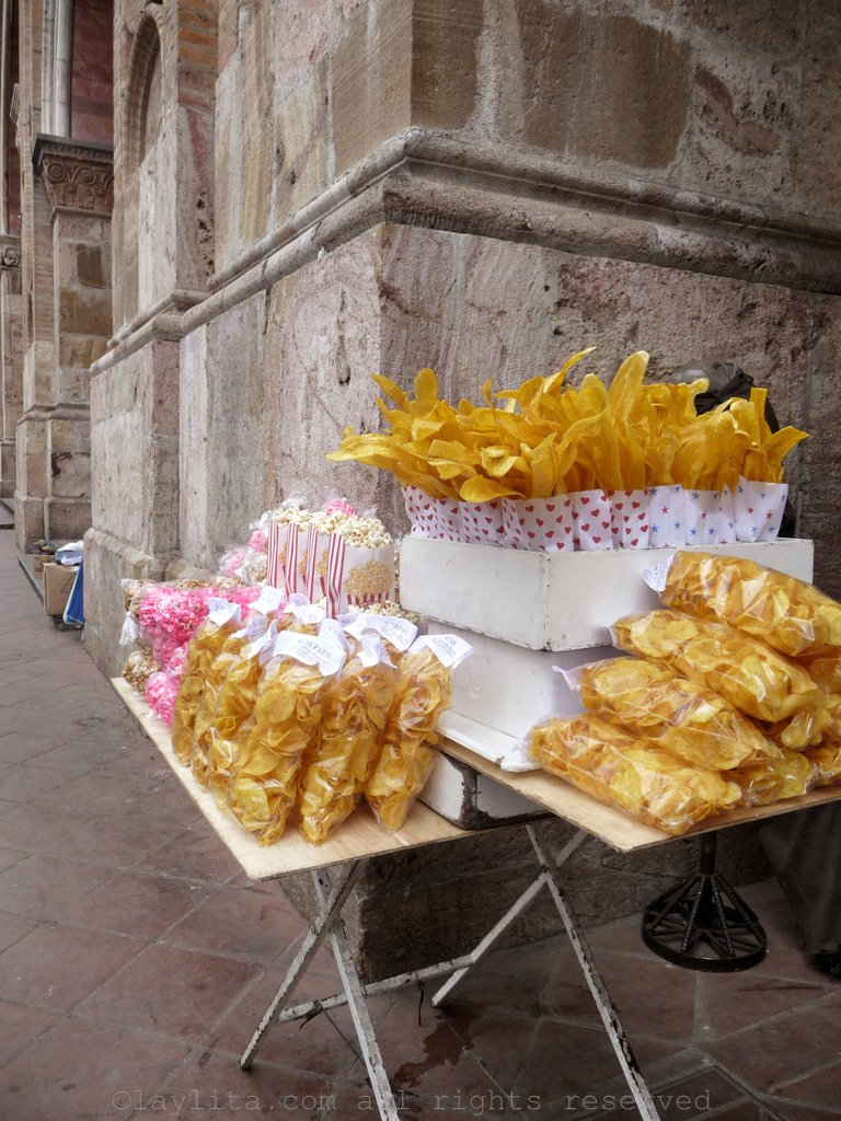 Ecuadorian street food stand selling chifles