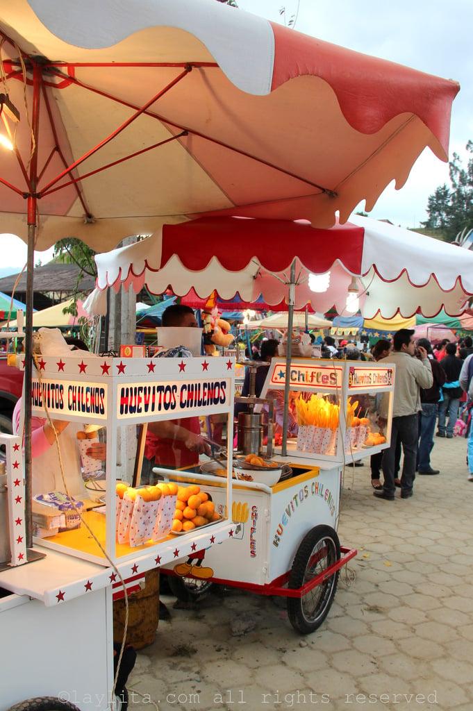 Food carts at the fair in Loja